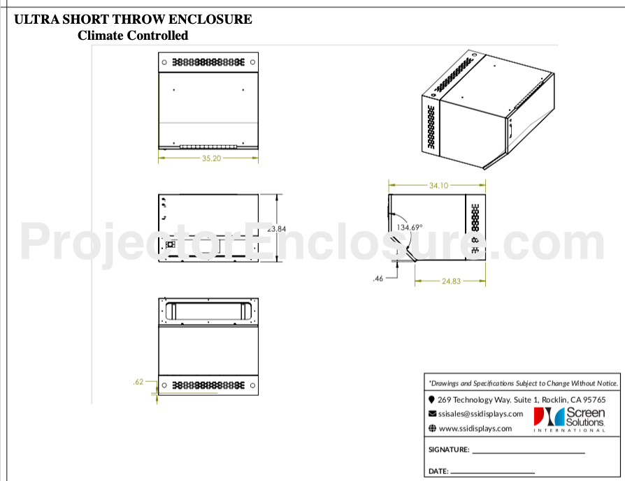 UST Projector Enclosure - Epson ELPx01, Epson ELPX02 - UST Outdoor Projector Enclosures